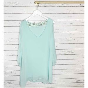 Lulu's Shifting Dears Mint Blue Long Sleeve Dress